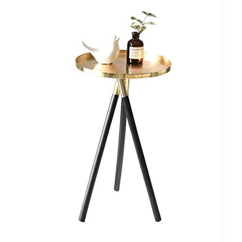 YTSFT metalen ronde salontafel massief houten poten woonkamer eindtafel moderne zijtafel slaapkamer nachtstandaard klein goud
