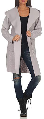 Malito Damen Wollmantel kurz | Boucle Wool | Trenchcoat mit Kapuze | weicher Dufflecoat | Parka - Jacke 9320 (hellgrau)