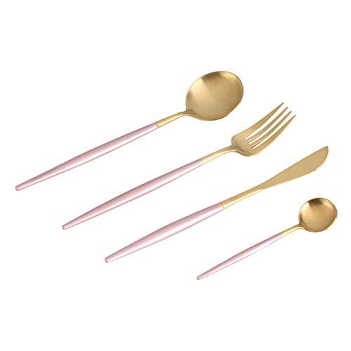 4 unids/set de vajilla de color de acero inoxidable cuchara tenedor cuchillo vajilla salud duradera juego de cubiertos uso doméstico regalo de Navidad(rosa y oro)