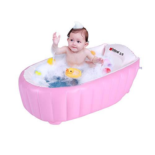 Signstek Bañera inflable para bebés, lavabo para bebés y bebés, baño para bebés, bañera antideslizante plegable, seguridad y portátil, un inflador incluido (para 0-4 años) (rosa)