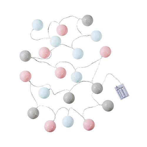 Butlers In The Mood Cotton Ball LED Deko Lichterkette mit 20 Kugeln in Grau-Weiß - warmweißes Licht mit Lampions aus Baumwolle - 315 cm Batterie-betriebene Lichterkette für Zimmer