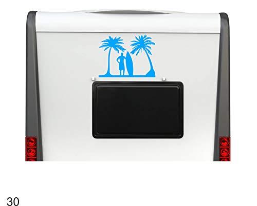 Pegatina Promotion Surfer Palmen Meer Surfen Wellen ca 40cm Hochwertiger Wohnmobil Aufkleber Camper Wohnwagen Womo Mobile Home Camping Aufkleber UV beständig wetterfest