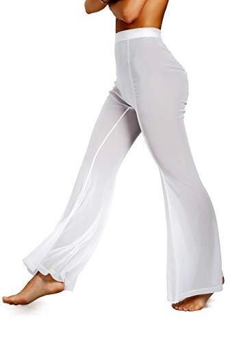 sofsy Weiß Transparente Strandhose Badeanzug Cover Up sexy Hosen für Damen Bademoden zum Überziehen Medium