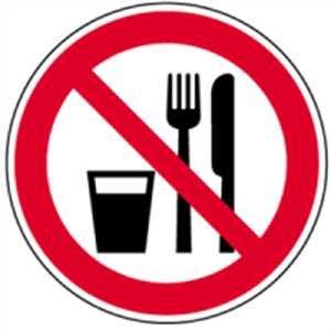 Piktogramm - Essen und Trinken verboten Folie 2cm Ø LE = 10 Piktogramme/Bogen, Preis/Piktogramm gemäß ASR A 1.3/BGV A8/DIN 4844