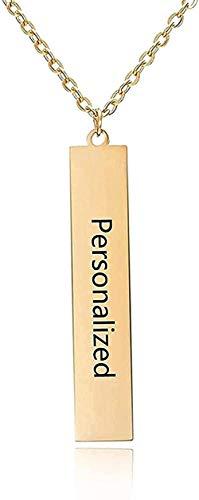 Collar Moda Grabado De Cuatro Lados Barra Cuadrada Personalizada Nombre Personalizado Colgante De Acero Inoxidable Para Mujeres / Hombres Oro Moda Regalo De Cumpleaños Colgante Regalo Para Hombres