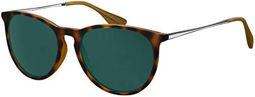 Sonnenbrille La Optica UV 400 Schutz Unisex Damen Herren Vintage Rund - Farben, Verspiegelt, Horn Gummiert (Gläser: Grün Klassisch)