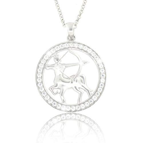 PAVEL´S Damen Sternzeichen Kette Halskette SCHÜTZE aus echtem Silber 925 Anhänger mit glänzenden Zirkonia in AAA Qualität Halskette aus der Kollektion ECLIPSE inkl. Schmuckbox und Echtheits-Zertifikat