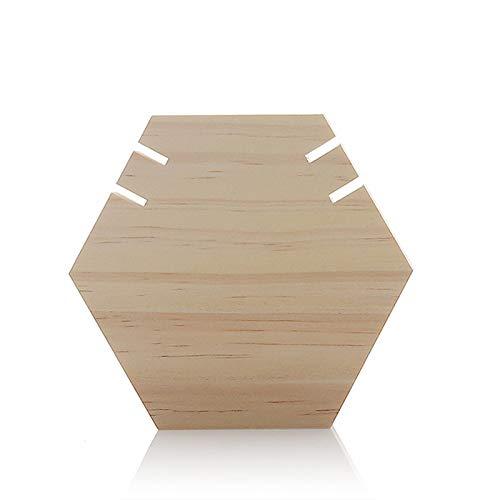 Timagebreze Soporte de ExhibicióN de Collar de Madera Tablero Hexagonal Soporte de Joya para Mostrar Collar Largo Colgante Joya Al por Menor ExhibicióN de Caballete S