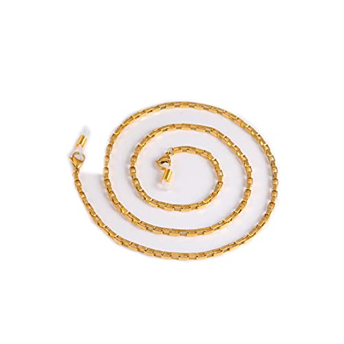 Eyeglass - Cadena de cordón para gafas de sol, cadena de acero inoxidable, color dorado