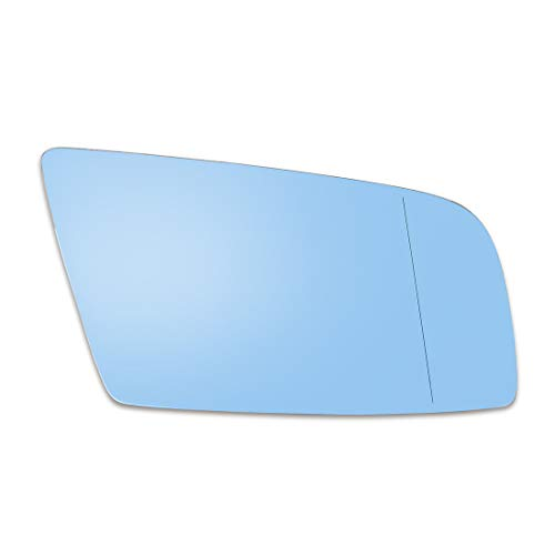 X AUTOHAUX Mirror Glass Heated with Backing Plate Driver Side Left Side Rear View Mirror Glass Blue for BMW 525i 545i 530i
