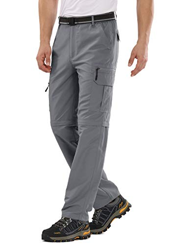 Hiking Pants for Men boy Scout Convertible Cargo Zip Off Lightweight Quick Dry Breathable Fishing Safari Shorts,6101,Grey,34
