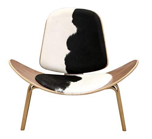 QWSX Silla Trípode de Madera contrachapada Moderna del sillón de Cuero de Vaca tapicería Sala de Estar Muebles Modernos Hans Wegner Shell de Cuero de diseño Silla del Asiento diseño Simple