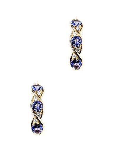 Jaipuri.Instyle - Damen Ohrstecker - 750er Gold (18 K) - Creolen mit AAA-Tansaniten - E2945TANWD_18KYG