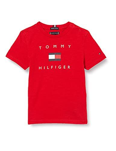 Tommy Hilfiger Hilfiger Logo tee S/S Camisa, Deep Crimson, 12 para Niños
