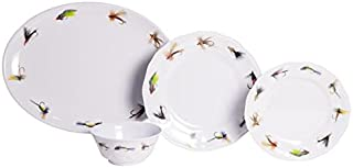 Galleyware Fishing Flies 19-Piece Melamine Dinnerware Set, Service for 6 with Platter