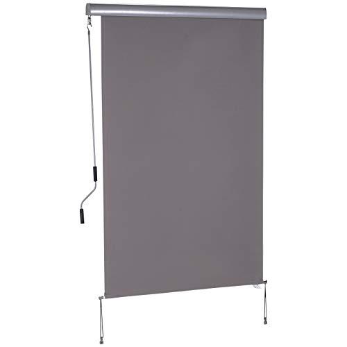 Outsunny Senkrechtmarkise Vertikalmarkise Sonnenschutz Windschutz Seitenrollo Sichtschutz mit Handkurbel Polyester + Aluminium Grau,120 x 200 cm