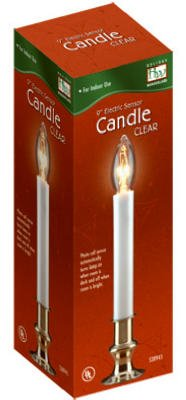 Holiday Wonderland (5) 1528-88 9' Clear Brass Plated Electric Sensor (Dawn to Dusk) Window Candles