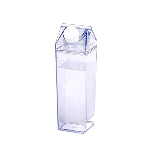 su-luoyu 500ml Milchkarton Wasserflasche Transparente Kunststoff Milchbox Saftflasche Milchflaschen Tragbare Wasserflasche Für Getränke Getränkesaft