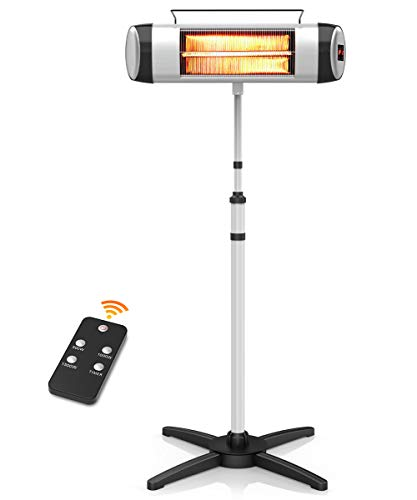 PATIOBOSS Electric Patio Heater, Infrared Heater for Instant Warm,Quiet Operation, Electric outdoor Heater with Remote Control and 24-Hour Timer Free Standing or Wall Mounted