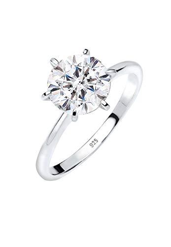 Elli Anillos de compromiso para damas con cristales en plata esterlina 925