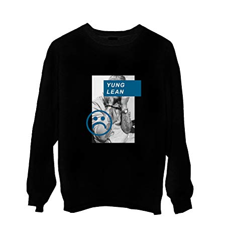 MTNACLOTHING Yung Lean Rap Music Legend Sad Boys_MA0656 Crewneck Sweater Gift For Him Her Unisex, XL Black