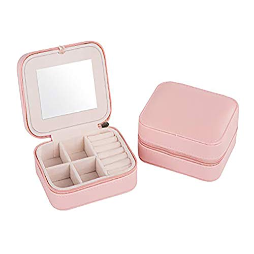 Tragbare Reise-Schmuckbox, kleine Schmuckbox mit verspiegeltem Halter für Ringe, Ohrringe, Halskette, Armband.