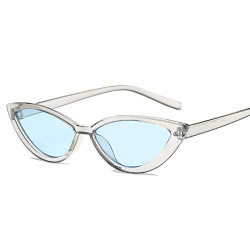 Moda Nueva Negro Ojo De Gato Gafas De Sol Mujeres Vintage Espejo Pequeño Marco Cateye Gafas De Sol Sombras Femeninas Uv400 Azul