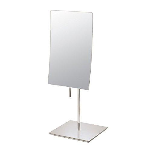 Mirror Image 82273 Minimalist Rectangular Vanity Mirror, 3X Magnification, Brushed -