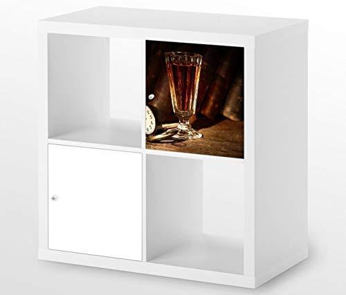 Möbelaufkleber für Ikea KALLAX / 1x Türelement Wein Glas Uhr Jahrgang alt Kat4 Rotwein Likör Aufkleber Möbelfolie sticker (Ohne Möbel) Folie 25D586