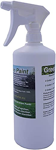 Green Lawn Paint 1 Liter Grüne Profi Rasenfarbe direkt aufsprühen inkl. Sprühkopf. Rasenfarbe, Naturdünger und natürlichem Zeckenschutz. Made in USA.