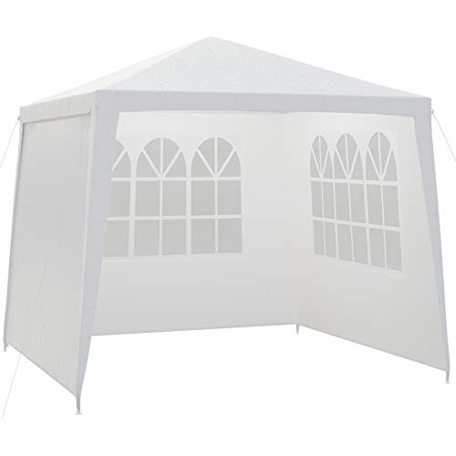 Deuba Gazebo 3 x 3m Pavilion White with Sides Panels Zip Garden Canopy Outdoor Marquee Party Tent for Camping Patio Festival
