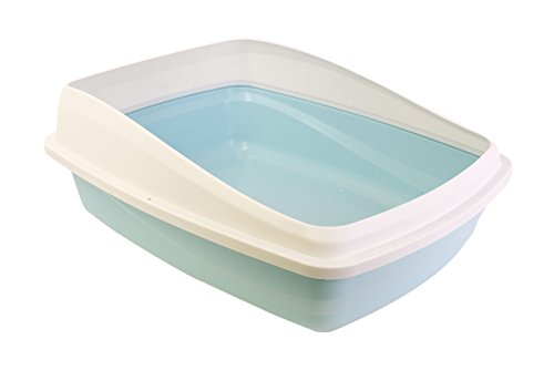 catit Toilette per Gatti con Bordo L 43X57X19Cm, Blu/Grigia, L