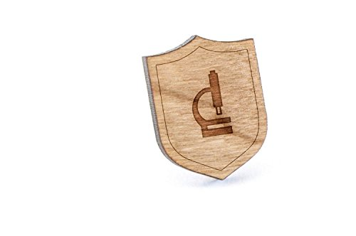 Upright Microscope Lapel Pin, Wooden Pin and Tie Tack   Rustic and Minimalistic Groomsmen Gifts and Wedding Accessories