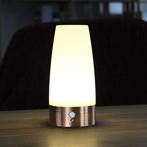 WRalwaysLX Tischlampe, Retro-LED-Nachtlicht, Nachttischlampe mit kabellosem PIR-LED-Bewegungssensor, Betriebenes Licht für Wohnzimmer, Schlafzimmer, Badezimmer, Flur, Küche (weißes Licht- Runden)