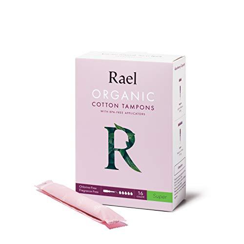 Rael Tampons coton bio avec applicateur sans BPA, sans chlore (Super), (16 unités) (2 paquets, total 32 unités)