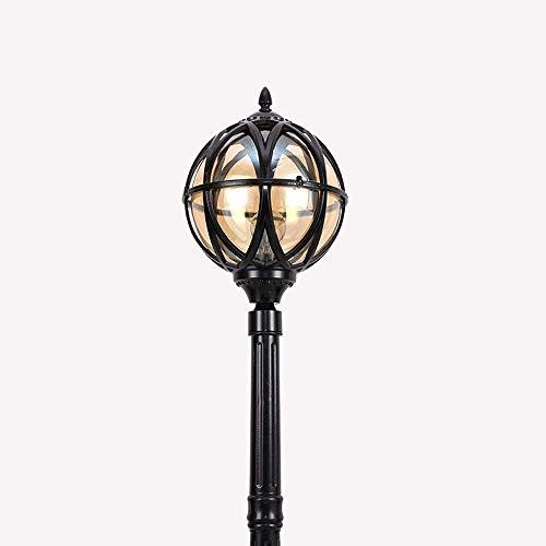 N / A Outdoor Garden Post Light, Victoria Retro Waterproof Earth Street Light European Classical Glass Lawn Lantern Villa Park Landscape Column Lamp Lights External Antique Patio High Pole Ligh.