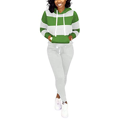 Nimsruc Womens 2 Piece Tracksuit Long Sleeve Casual Patchwork Hooded Collar Pants Set Green M