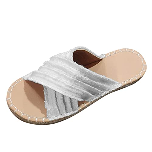 URIBAKY - Pantuflas de moda para mujer, talla sandalias de paja, cruz, pescador, bohemia plana, sandalias, Blanco (blanco), 41 EU