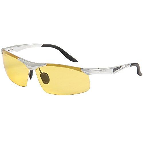 Jimmy Orange -  Occhiali da sole - Uomo Nero silver frame yellow lenses
