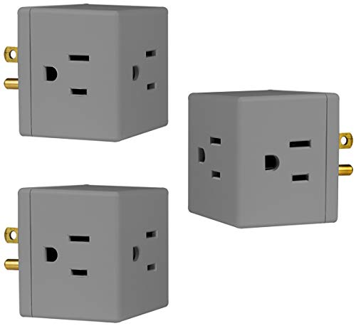 GE Outlet Wall Tap, 3 Pack, 3 Prong, Extra-Wide Adapter Spaced, Grounded, Easy Access Design, Indoor, Gray, 47036, Count