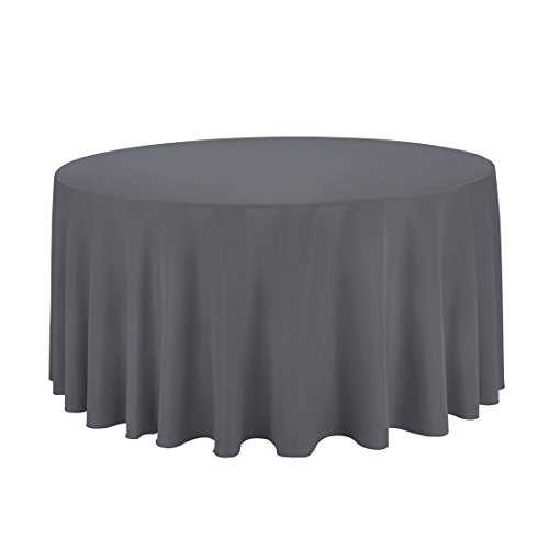 "Gee Di Moda Tablecloth - 120"" Inch Round Tablecloths for Circular Table Cover in Charcoal Washable Polyester - Great for Buffet Table, Parties, Holiday Dinner & More"