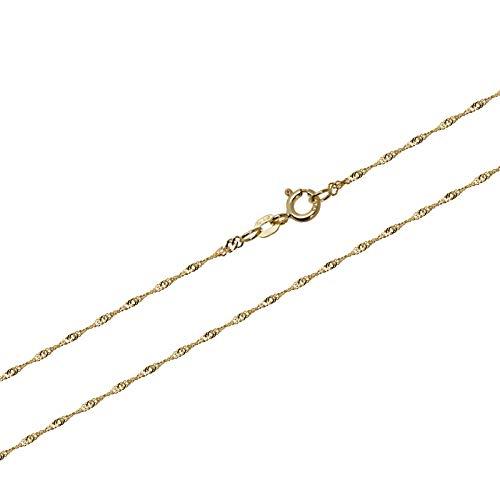 NKlaus 40cm Goldkette 1,00mm Singapurkette 585 Gelbgold Panzerkette gedreht Halskette 0,9g 9265