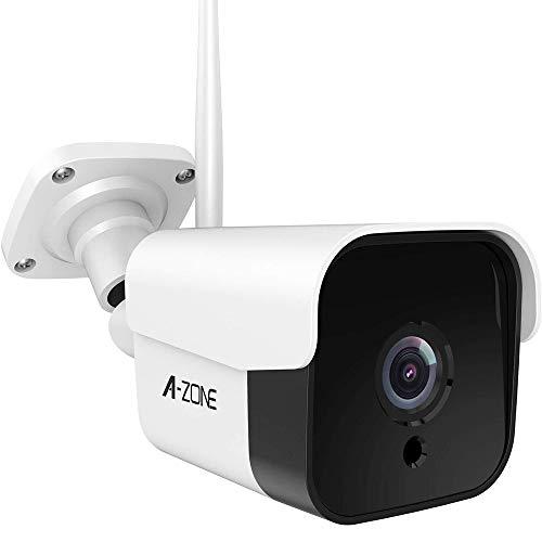 AZONE Outdoor Security Camera - 3MP Bullet Door Camera IP66 Night Vision Home Surveillance System, WiFi Camera Outdoor, Two-Way Audio, Motion Detector, Alarm/Recording