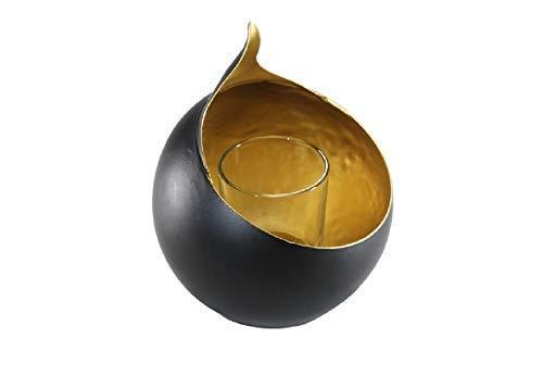 Linoows G2702: Art. Decorazione Porta Tealight, di Alta Qualità Candeliere Nero e Oro
