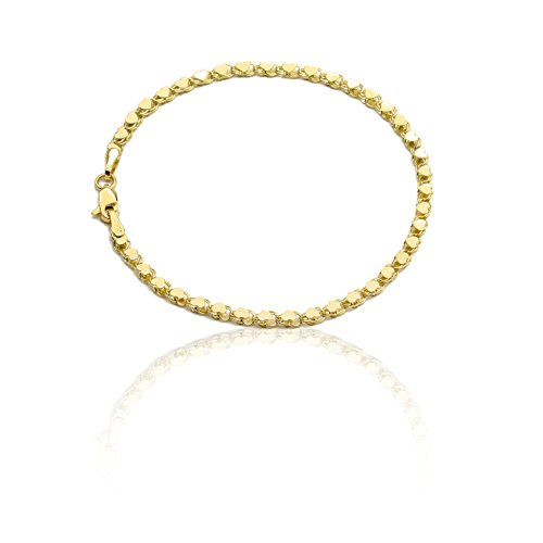 Floreo 8 Inch 10k Yellow Gold Mirror Chain Bracelet with Double Side Heart Charms for Women and Girls (0.12