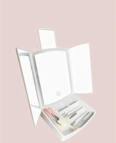 Three-Door Folding Storage led Makeup Mirror with Light Multifunctional Household Vanity Mirror Beauty Makeup Mirror-White