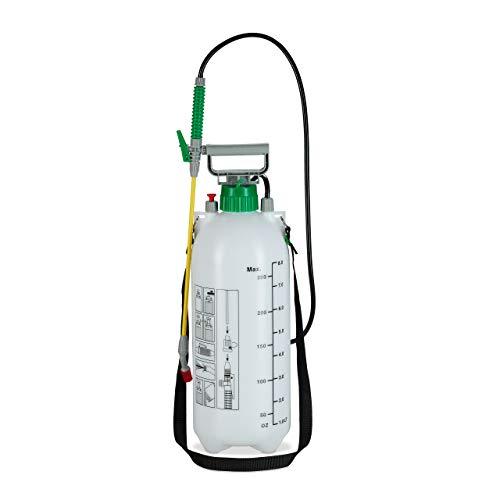 Relaxdays Drucksprüher 8 Liter, einstellbare Düse, für Wasser & Unkrautvernichter, Sprühflasche Garten, Skalierung, weiß
