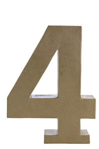 Décopatch AC424O Zahl 4 Fantasie aus Pappmaché, 5 x 23 x 30 cm, zum Verzieren, Kartonbraun