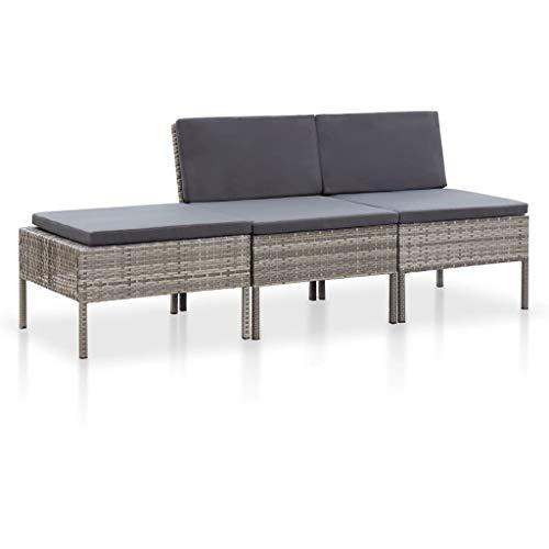 vidaXL Set de Muebles de Jardín 3 Piezas y Cojines Patio Terraza Conjunto Casa Exterior Comedor Aire Libre Mesa Silla Asientos Ratán Sintético Gris