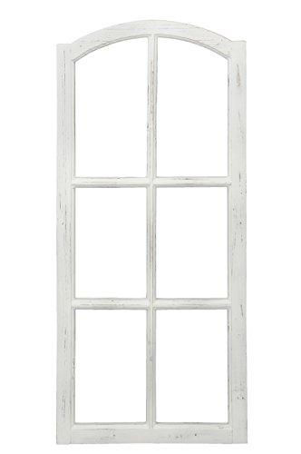 Posiwio Deko-Fensterrahmen Holz- Rahmen Fenster-Attrappe Holz Shabby Weiss gewischt Vintage